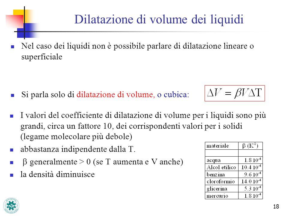 Dilatazione di volume dei liquidi 18 Nel caso dei liquidi non è possibile parlare di dilatazione lineare o superficiale Si parla solo di dilatazione d