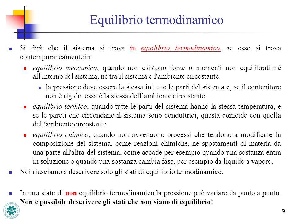 9 Si dirà che il sistema si trova in equilibrio termodinamico, se esso si trova contemporaneamente in: equilibrio meccanico, quando non esistono forze