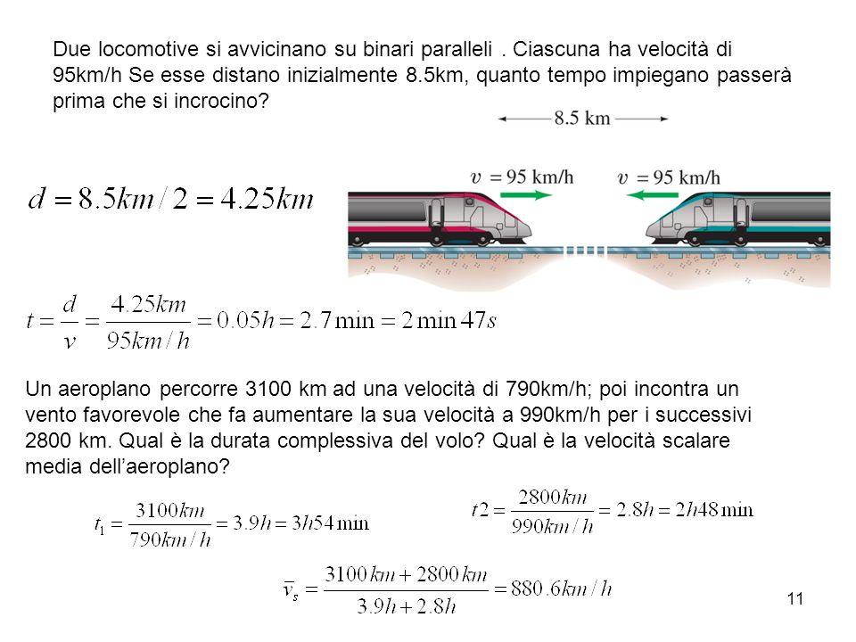 11 Due locomotive si avvicinano su binari paralleli. Ciascuna ha velocità di 95km/h Se esse distano inizialmente 8.5km, quanto tempo impiegano passerà