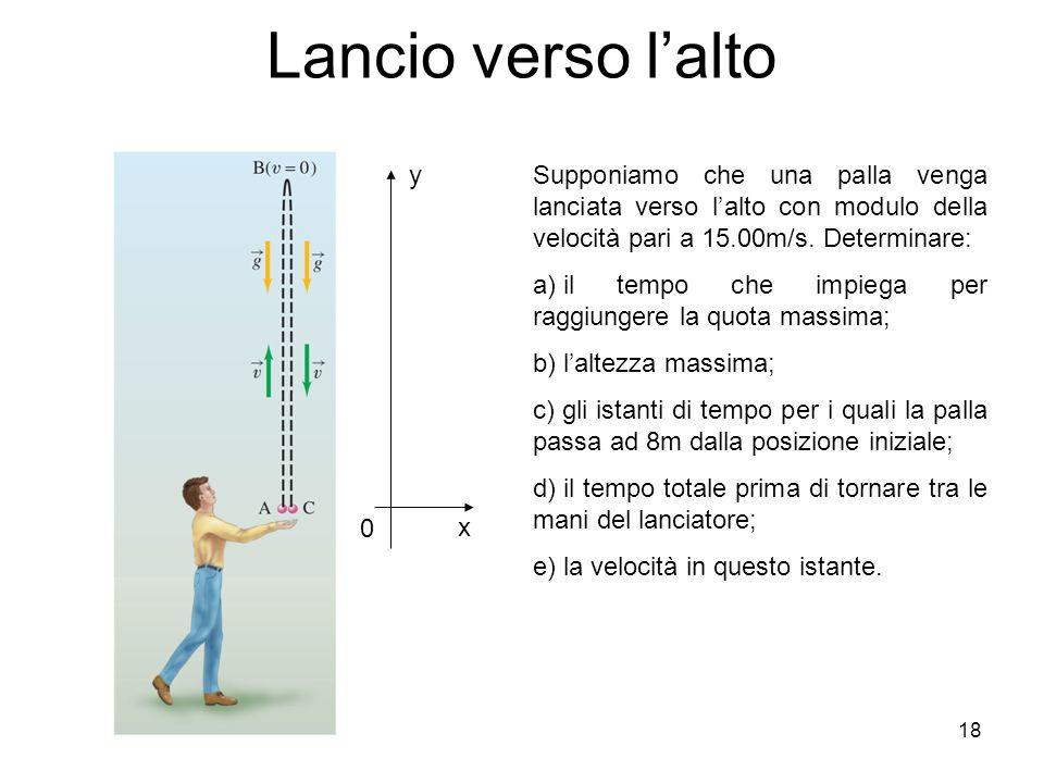 18 Lancio verso lalto y x 0 Supponiamo che una palla venga lanciata verso lalto con modulo della velocità pari a 15.00m/s. Determinare: a) il tempo ch