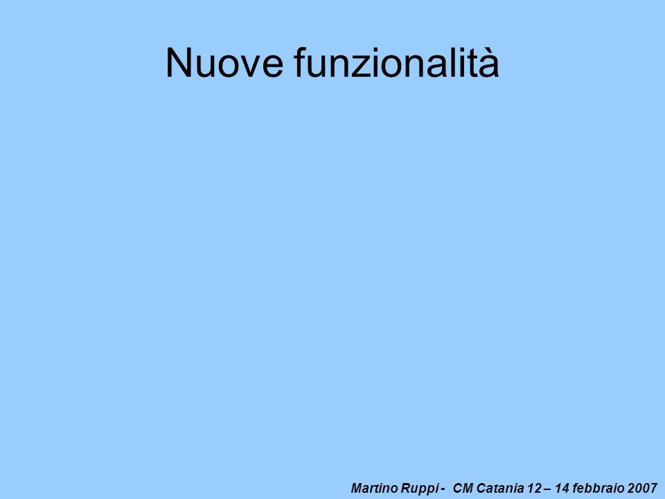 Martino Ruppi - CM Catania 12 – 14 febbraio 2007 Nuove funzionalità