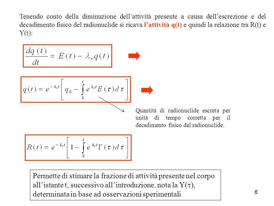 6 Permette di stimare la frazione di attività presente nel corpo allistante t, successivo allintroduzione, nota la Y( ), determinata in base ad osserv