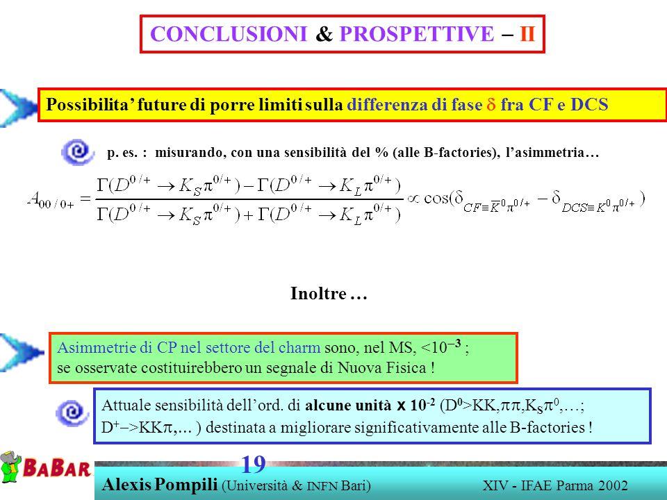 Alexis Pompili (Università & INFN Bari) XIV - IFAE Parma 2002 19 Possibilita future di porre limiti sulla differenza di fase fra CF e DCS p.