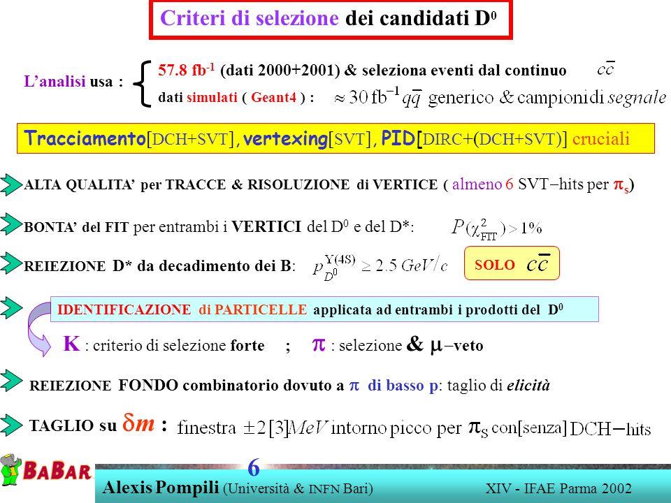 Criteri di selezione dei candidati D 0 REIEZIONE D* da decadimento dei B: BONTA del FIT per entrambi i VERTICI del D 0 e del D* : ALTA QUALITA per TRACCE & RISOLUZIONE di VERTICE ( almeno 6 SVT hits per s ) SOLO IDENTIFICAZIONE di PARTICELLE applicata ad entrambi i prodotti del D 0 K : criterio di selezione forte ; : selezione & veto REIEZIONE FONDO combinatorio dovuto a di basso p: taglio di elicità TAGLIO su m : Lanalisi usa : dati simulati ( Geant4 ) : Tracciamento [ DCH+SVT ], vertexing [ SVT ], PID[ DIRC +( DCH+SVT )] cruciali 57.8 fb -1 (dati 2000+2001) & seleziona eventi dal continuo Alexis Pompili (Università & INFN Bari) XIV - IFAE Parma 2002 6