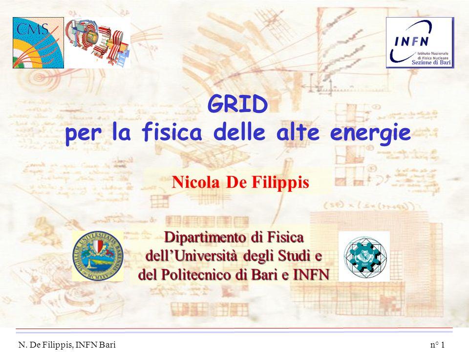 n° 1 N. De Filippis, INFN Bari GRID per la fisica delle alte energie Nicola De Filippis Dipartimento di Fisica dellUniversità degli Studi e del Polite