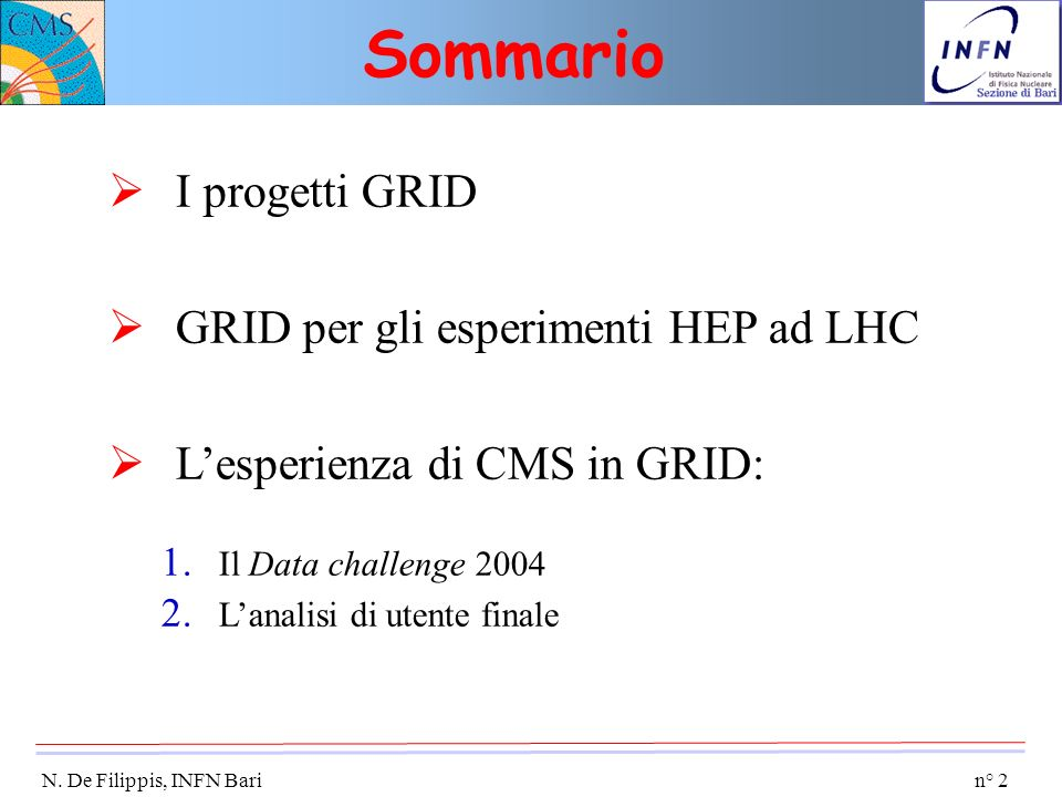 n° 2 N. De Filippis, INFN Bari I progetti GRID GRID per gli esperimenti HEP ad LHC Lesperienza di CMS in GRID: 1. Il Data challenge 2004 2. Lanalisi d