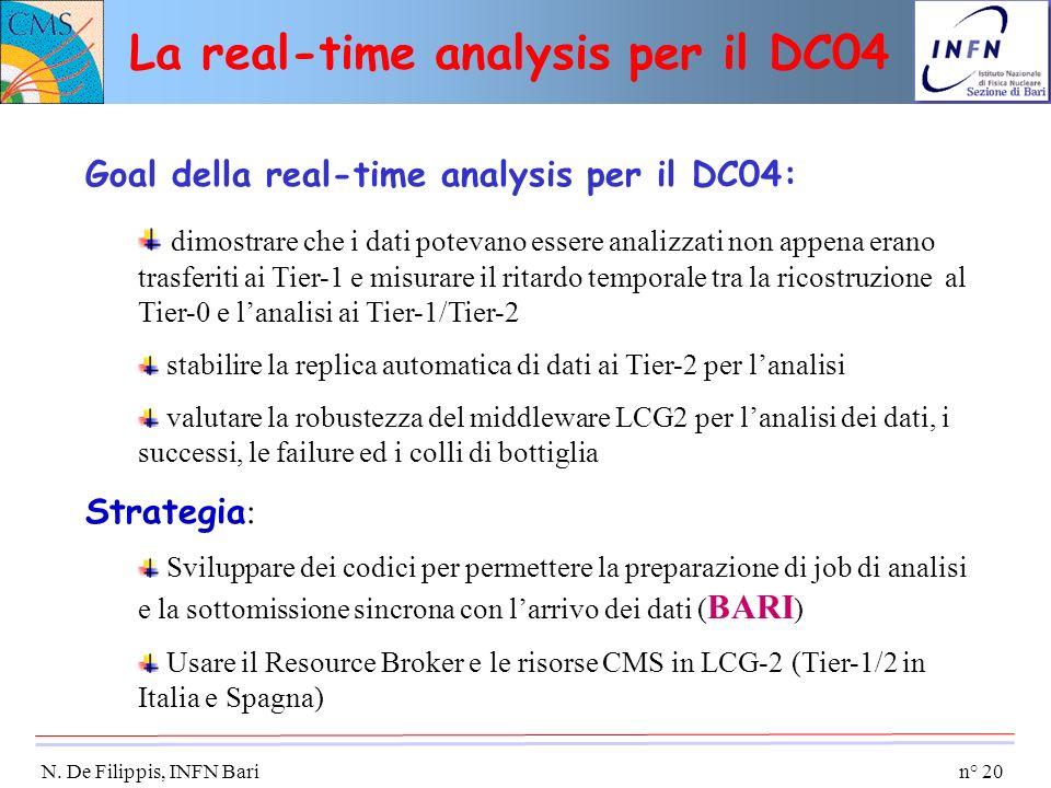 n° 20 N. De Filippis, INFN Bari Goal della real-time analysis per il DC04: dimostrare che i dati potevano essere analizzati non appena erano trasferit