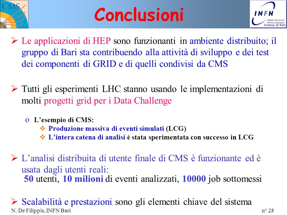 n° 28 N. De Filippis, INFN Bari Le applicazioni di HEP sono funzionanti in ambiente distribuito; il gruppo di Bari sta contribuendo alla attività di s
