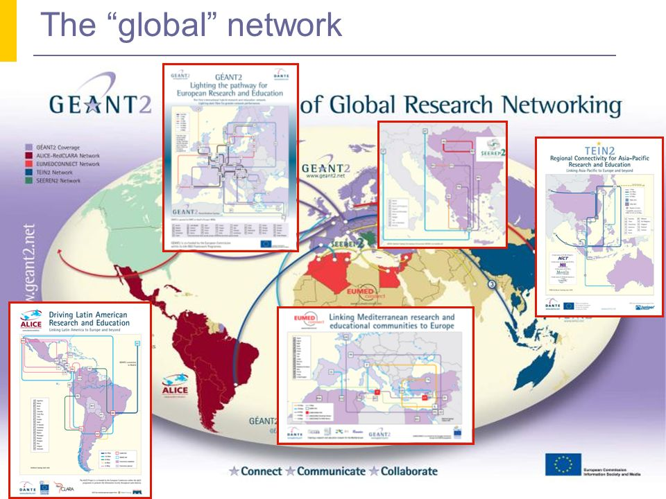 Tecnologia dei Servizi Grid e cloud computing - Lezione 001a 8 The GÉANT2 network and the rest of the world USA Latin America Asia South-East Europe Mediterranean Area Pan-European coverage (40+ countries/3900 Universities/30+ millions of students) Hybryd architecture: Connectivity at 10 Gbps Dark fiber wavelengths