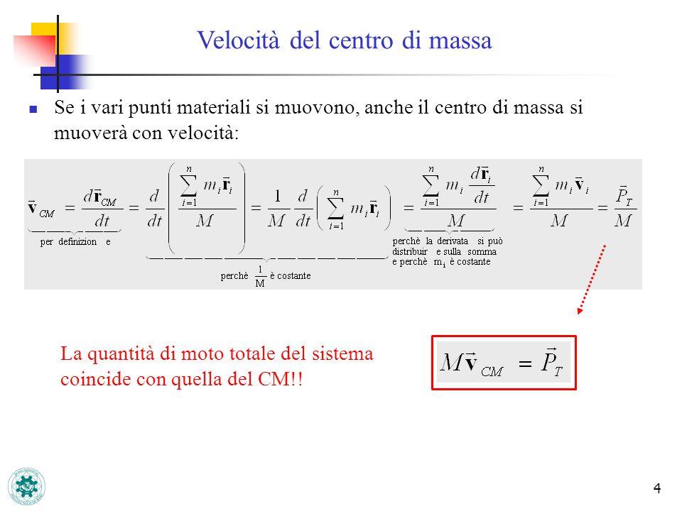4 Velocità del centro di massa Se i vari punti materiali si muovono, anche il centro di massa si muoverà con velocità: La quantità di moto totale del