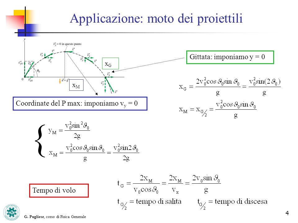 G. Pugliese, corso di Fisica Generale 4 Applicazione: moto dei proiettili Gittata: imponiamo y = 0 xMxM Coordinate del P max: imponiamo v y = 0 { Temp