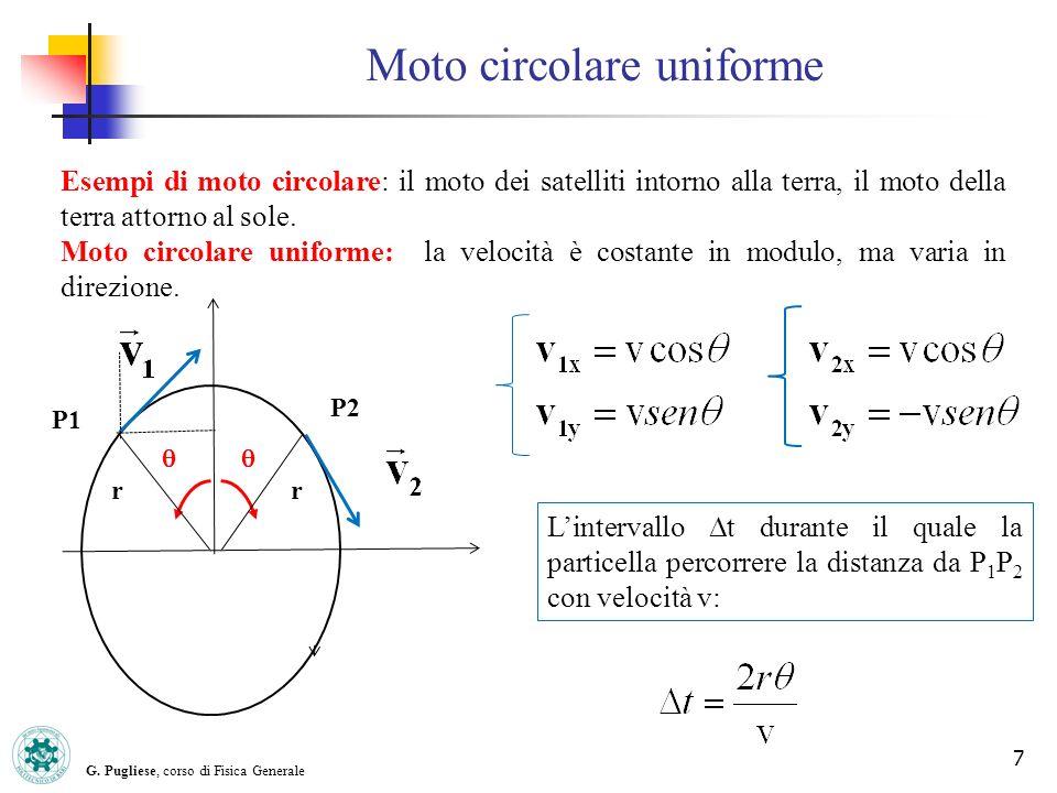 G. Pugliese, corso di Fisica Generale 7 Moto circolare uniforme Esempi di moto circolare: il moto dei satelliti intorno alla terra, il moto della terr