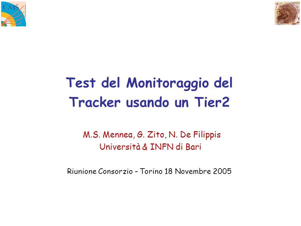 Test del Monitoraggio del Tracker usando un Tier2 M.S. Mennea, G. Zito, N. De Filippis Università & INFN di Bari Riunione Consorzio – Torino 18 Novemb