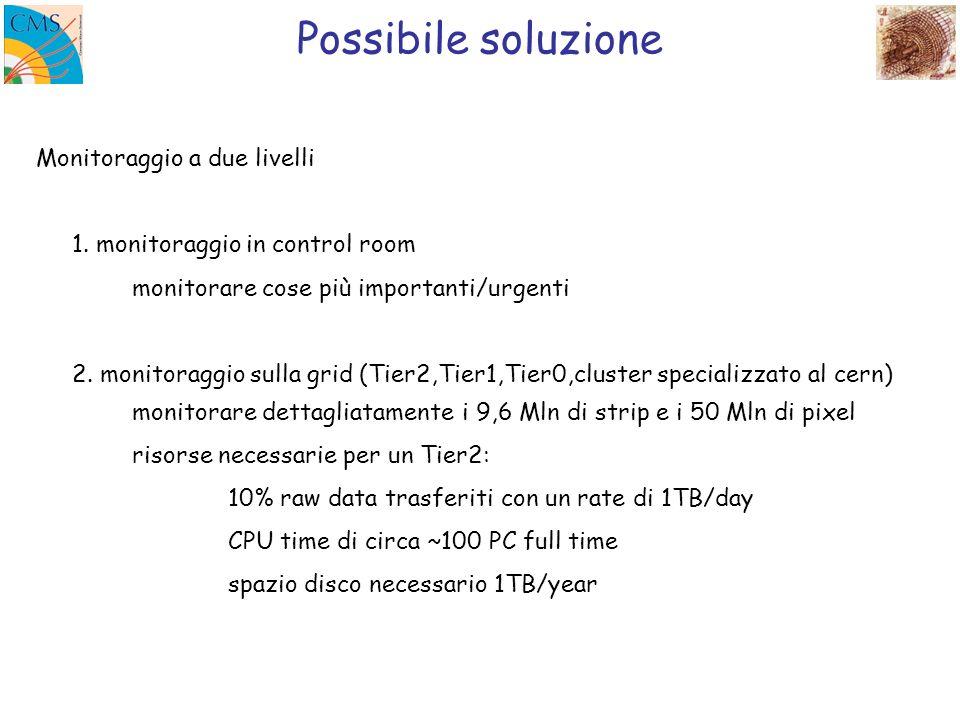 Possibile soluzione Monitoraggio a due livelli 1. monitoraggio in control room monitorare cose più importanti/urgenti 2. monitoraggio sulla grid (Tier