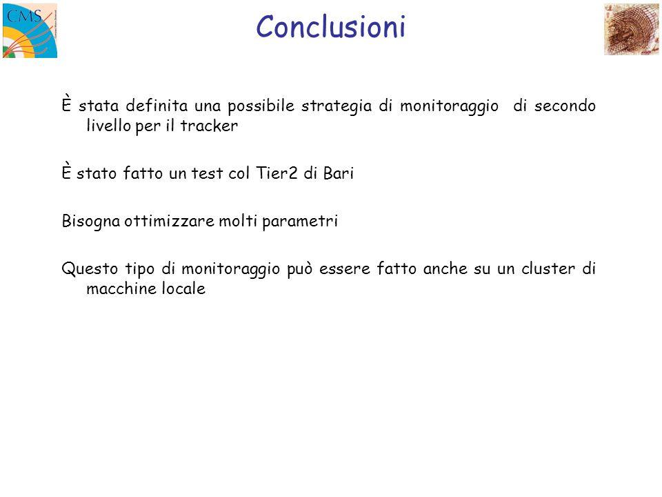 Conclusioni È stata definita una possibile strategia di monitoraggio di secondo livello per il tracker È stato fatto un test col Tier2 di Bari Bisogna