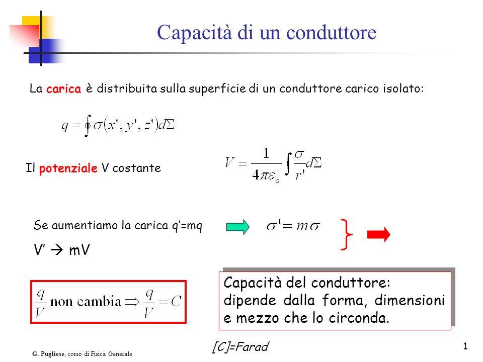 G. Pugliese, corso di Fisica Generale 1 Se aumentiamo la carica q=mq V mV Capacità di un conduttore La carica è distribuita sulla superficie di un con