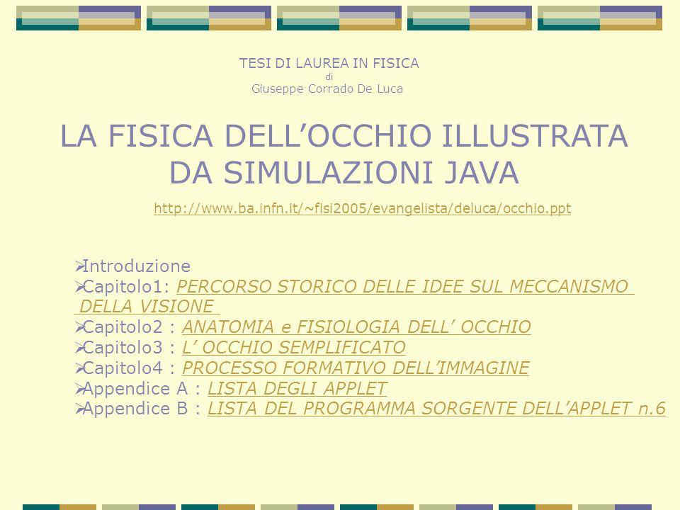 TESI DI LAUREA IN FISICA di Giuseppe Corrado De Luca LA FISICA DELLOCCHIO ILLUSTRATA DA SIMULAZIONI JAVA http://www.ba.infn.it/~fisi2005/evangelista/d
