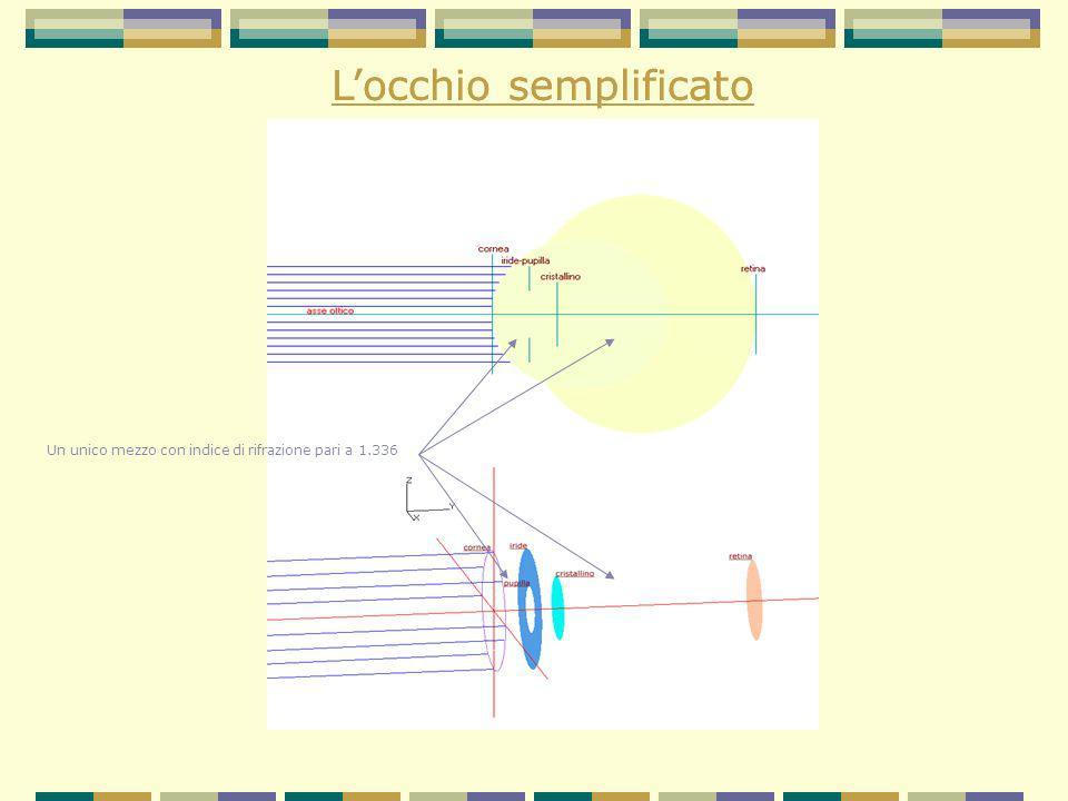 Percorso didattico 1° passaggio: attraversamento della cornea 2°passaggio: attraversamento del cristallino - con accomodamento - senza accomodamento Ruolo dei punti nodali Determinazione della direzione lungo la quale si trova un oggetto Determinazione della distanza di un oggetto Il fenomeno della diffrazione
