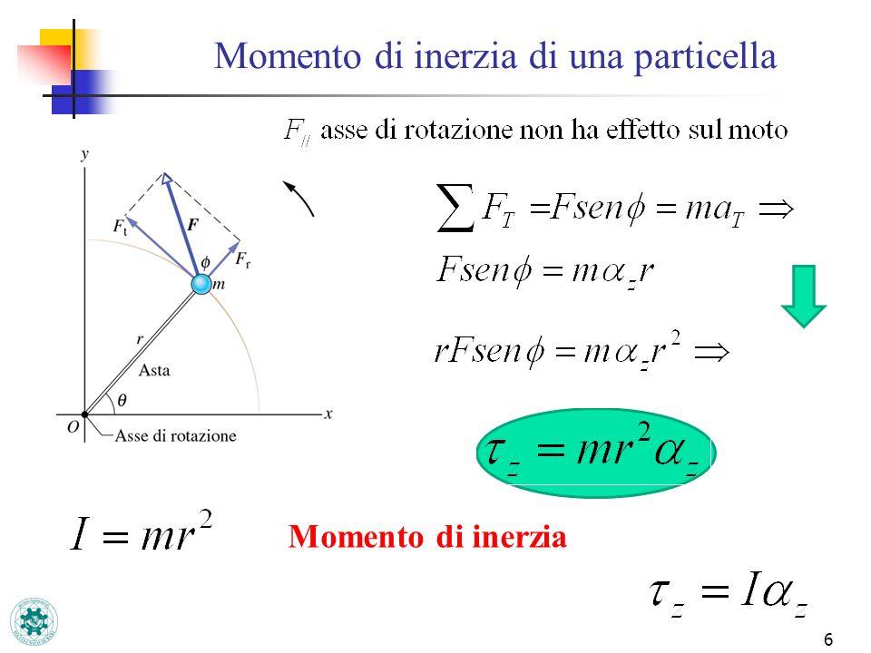 7 Momento di inerzia di sistema di particelle m1m1 m2m2 r1r1 r2r2 Sistema costituito da m1 e m2 libere di ruotare attorno allasse z.