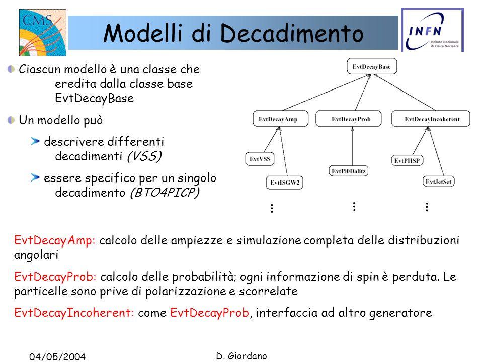 04/05/2004 D. Giordano Modelli di Decadimento Ciascun modello è una classe che eredita dalla classe base EvtDecayBase Un modello può descrivere differ