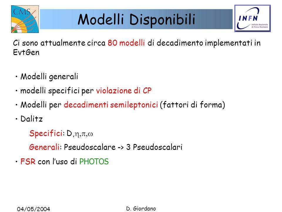 04/05/2004 D. Giordano Modelli Disponibili Modelli generali modelli specifici per violazione di CP Modelli per decadimenti semileptonici (fattori di f