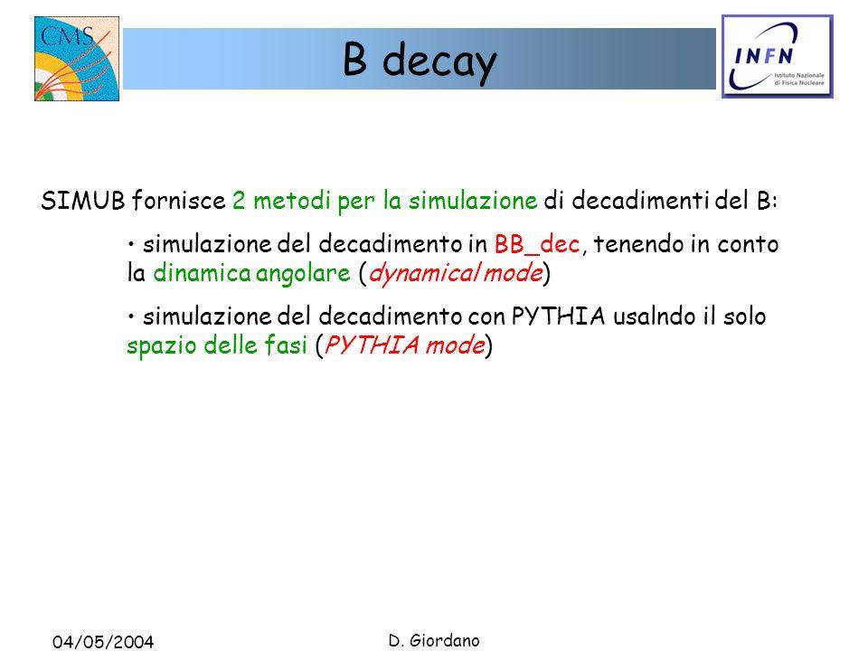 04/05/2004 D. Giordano B decay SIMUB fornisce 2 metodi per la simulazione di decadimenti del B: simulazione del decadimento in BB_dec, tenendo in cont