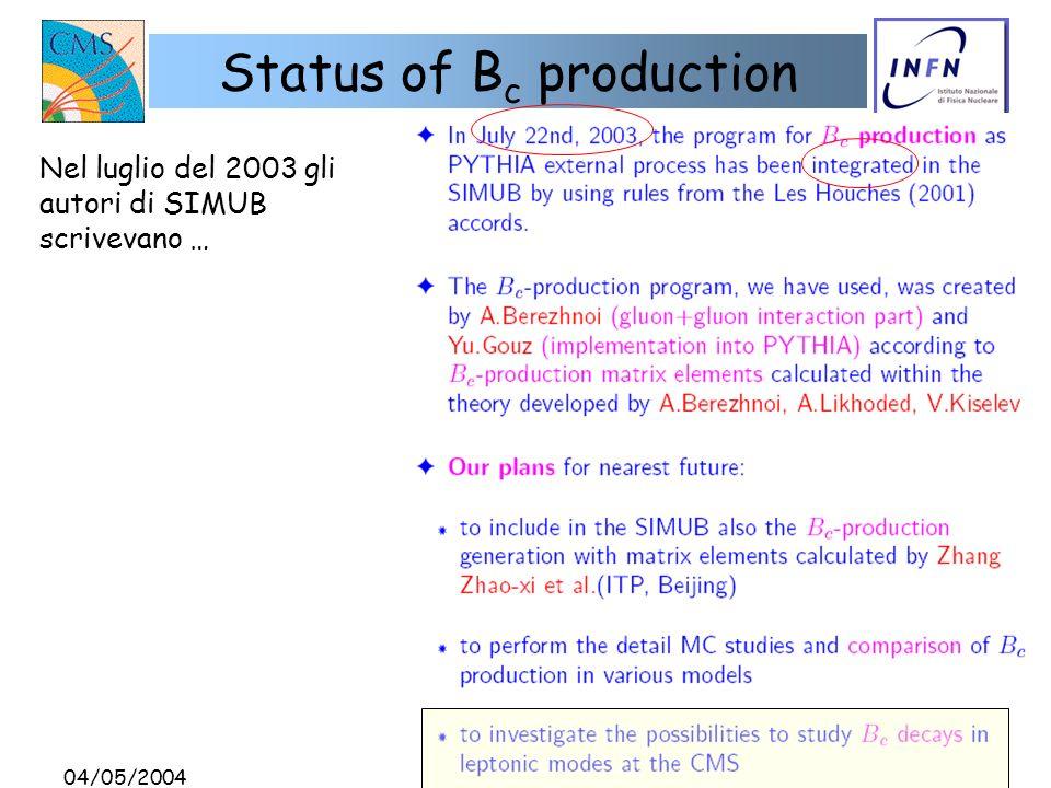 04/05/2004 D. Giordano Status of B c production Nel luglio del 2003 gli autori di SIMUB scrivevano …