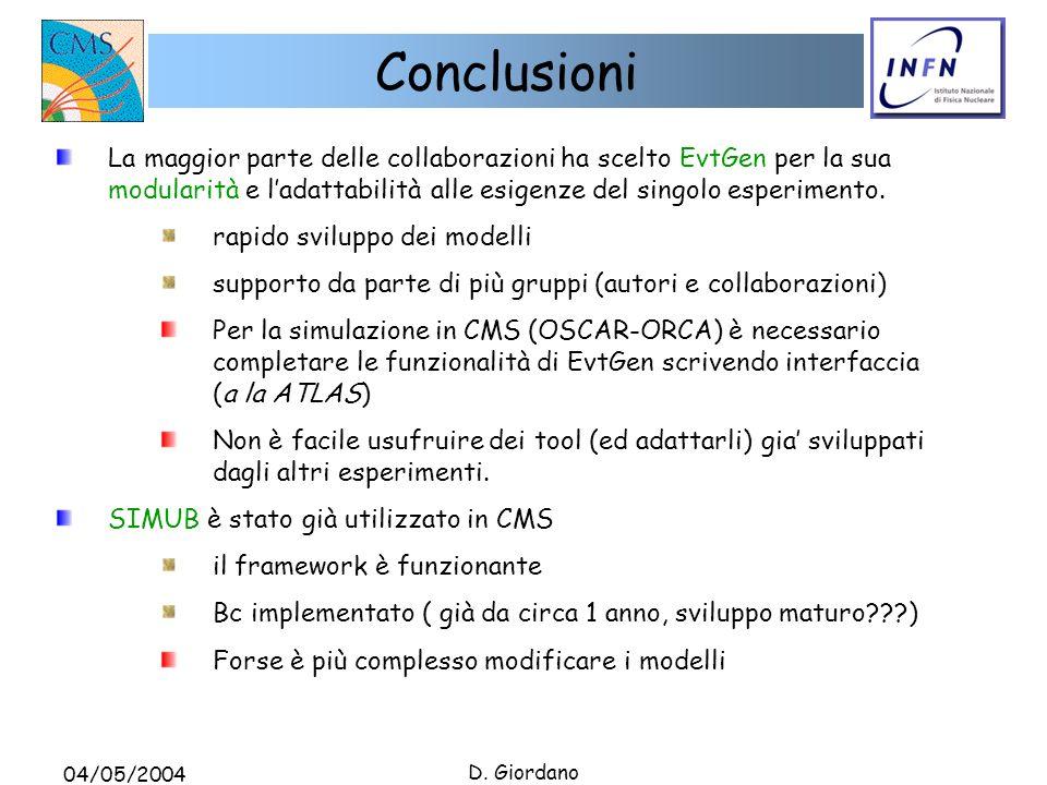04/05/2004 D. Giordano Conclusioni La maggior parte delle collaborazioni ha scelto EvtGen per la sua modularità e ladattabilità alle esigenze del sing