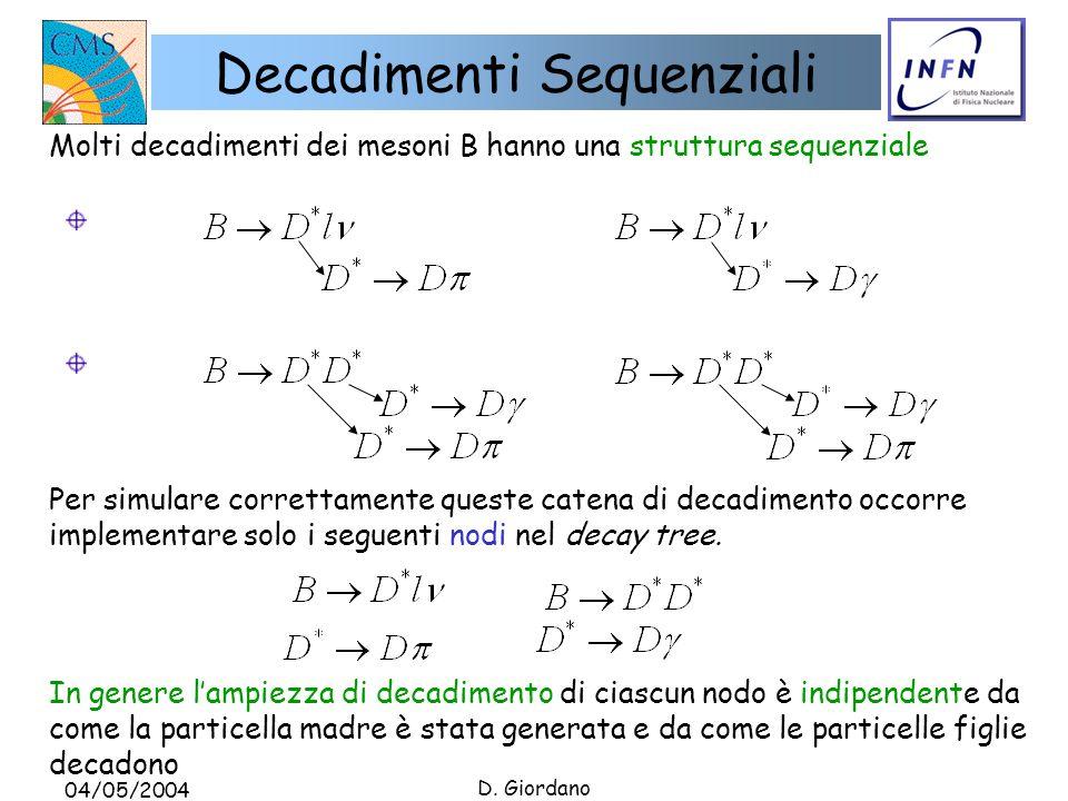 04/05/2004 D. Giordano Decadimenti Sequenziali Molti decadimenti dei mesoni B hanno una struttura sequenziale Per simulare correttamente queste catena