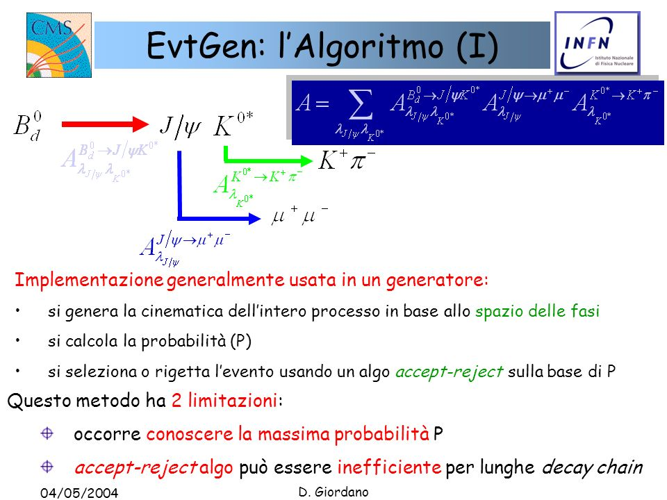 04/05/2004 D. Giordano EvtGen: lAlgoritmo (I) Implementazione generalmente usata in un generatore: si genera la cinematica dellintero processo in base