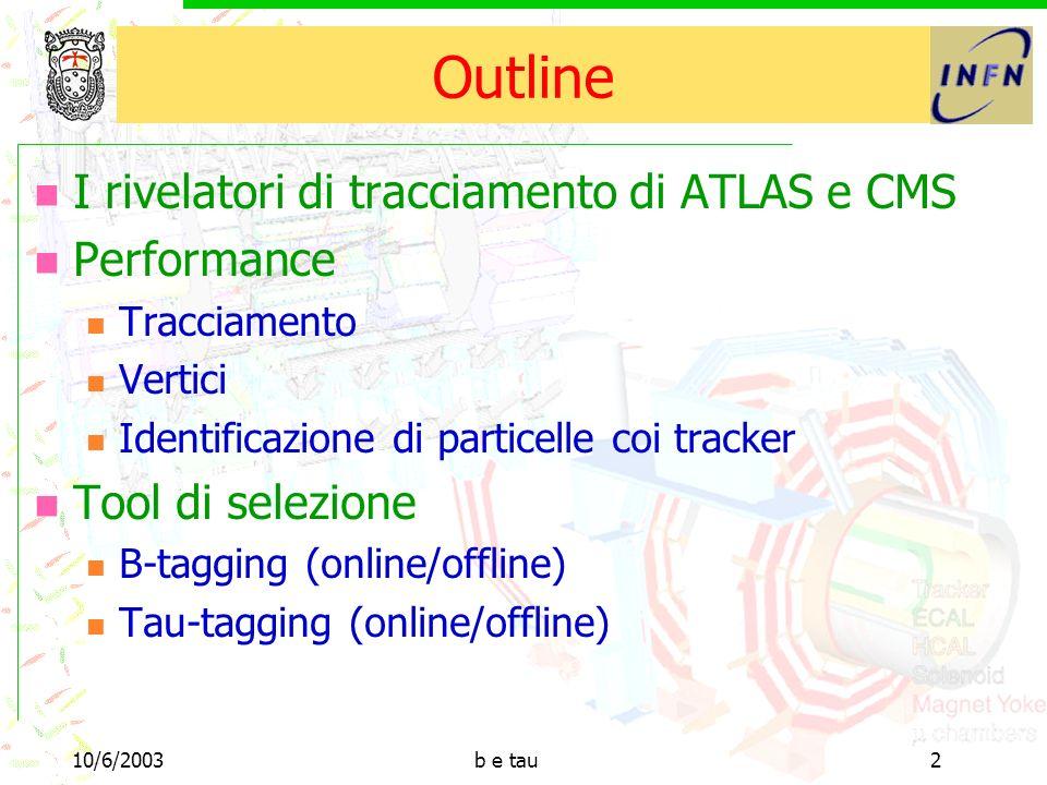 10/6/2003b e tau2 Outline I rivelatori di tracciamento di ATLAS e CMS Performance Tracciamento Vertici Identificazione di particelle coi tracker Tool di selezione B-tagging (online/offline) Tau-tagging (online/offline)
