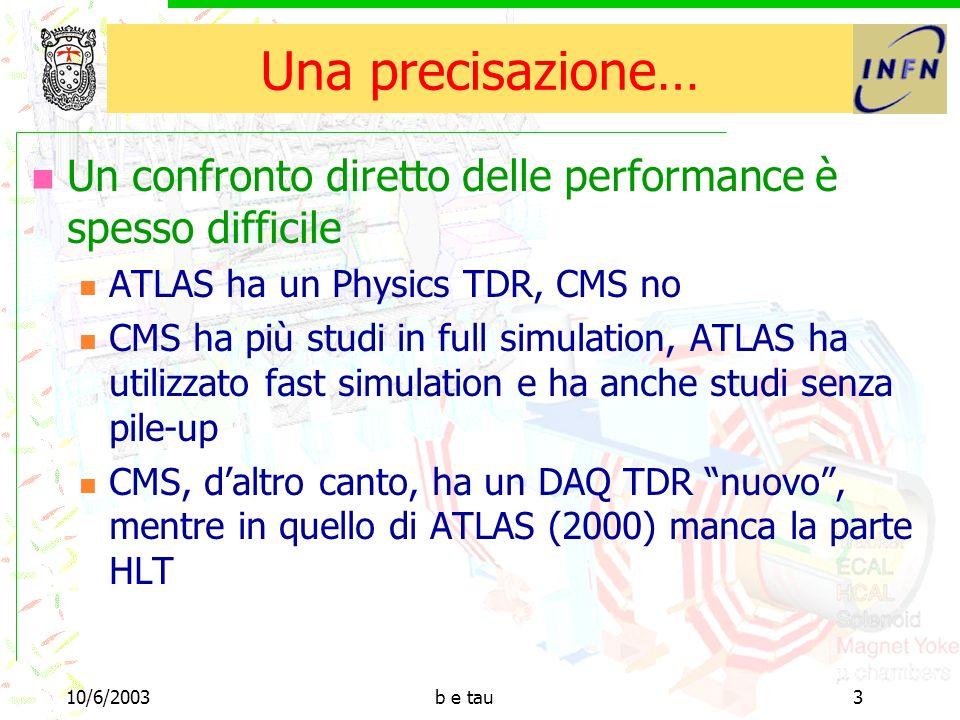 10/6/2003b e tau14 Risoluzioni Queste erano per muoni, gli elettroni soffrono molto di più la presenza del (materiale del) tracciatore Utilizzando algoritmi più sofisticati, è possibile recuperare risoluzione