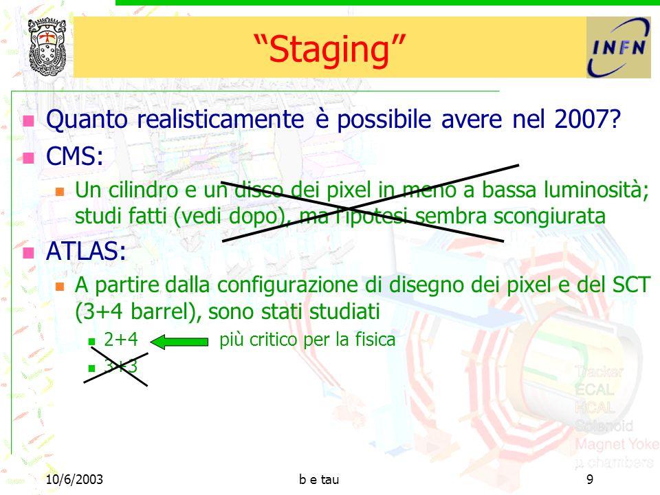 10/6/2003b e tau9 Staging Quanto realisticamente è possibile avere nel 2007.