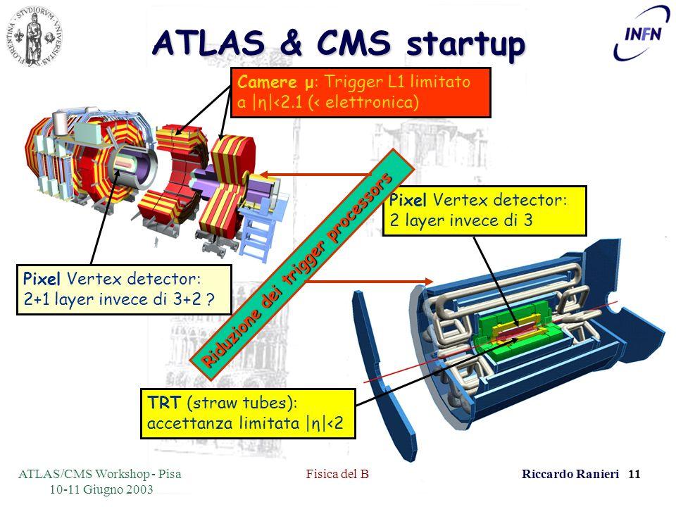 ATLAS/CMS Workshop - Pisa 10-11 Giugno 2003 Fisica del BRiccardo Ranieri 11 ATLAS & CMS startup Pixel Vertex detector: 2+1 layer invece di 3+2 .