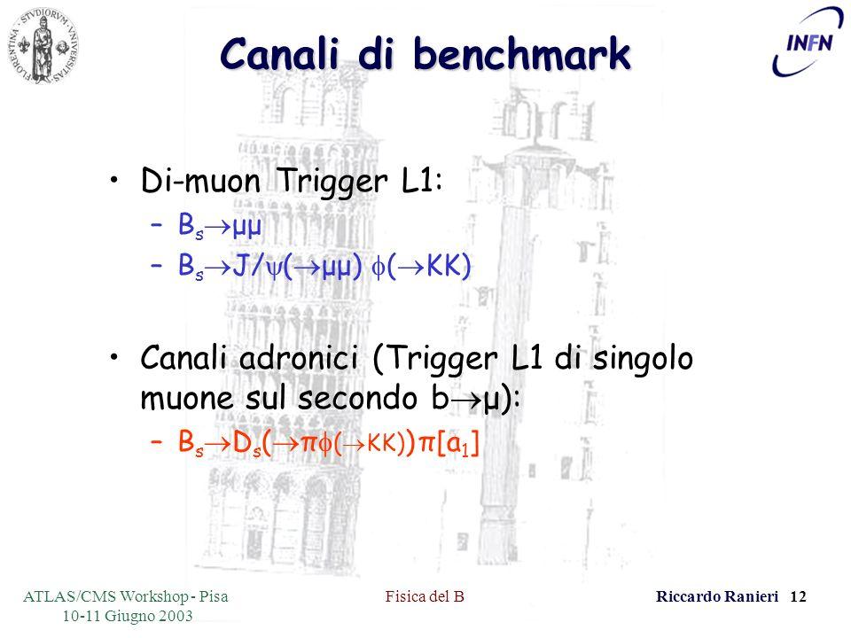 ATLAS/CMS Workshop - Pisa 10-11 Giugno 2003 Fisica del BRiccardo Ranieri 12 Canali di benchmark Di-muon Trigger L1: –B s μμ –B s J/ ( μμ) ( KK) Canali adronici (Trigger L1 di singolo muone sul secondo b μ): –B s D s ( π ( KK) ) π[a 1 ]