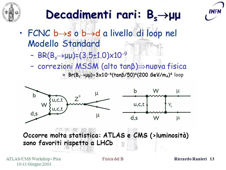 ATLAS/CMS Workshop - Pisa 10-11 Giugno 2003 Fisica del BRiccardo Ranieri 13 Decadimenti rari: B s μμ FCNC b s o b d a livello di loop nel Modello Standard –BR(B s μμ)=(3.5±1.0)x10 -9 –correzioni MSSM (alto tanβ) nuova fisica »Br(B s μμ)=3x10 -6 (tanβ/50) 6 (200 GeV/m A ) 4 loop Occorre molta statistica: ATLAS e CMS (>luminosità) sono favoriti rispetto a LHCb