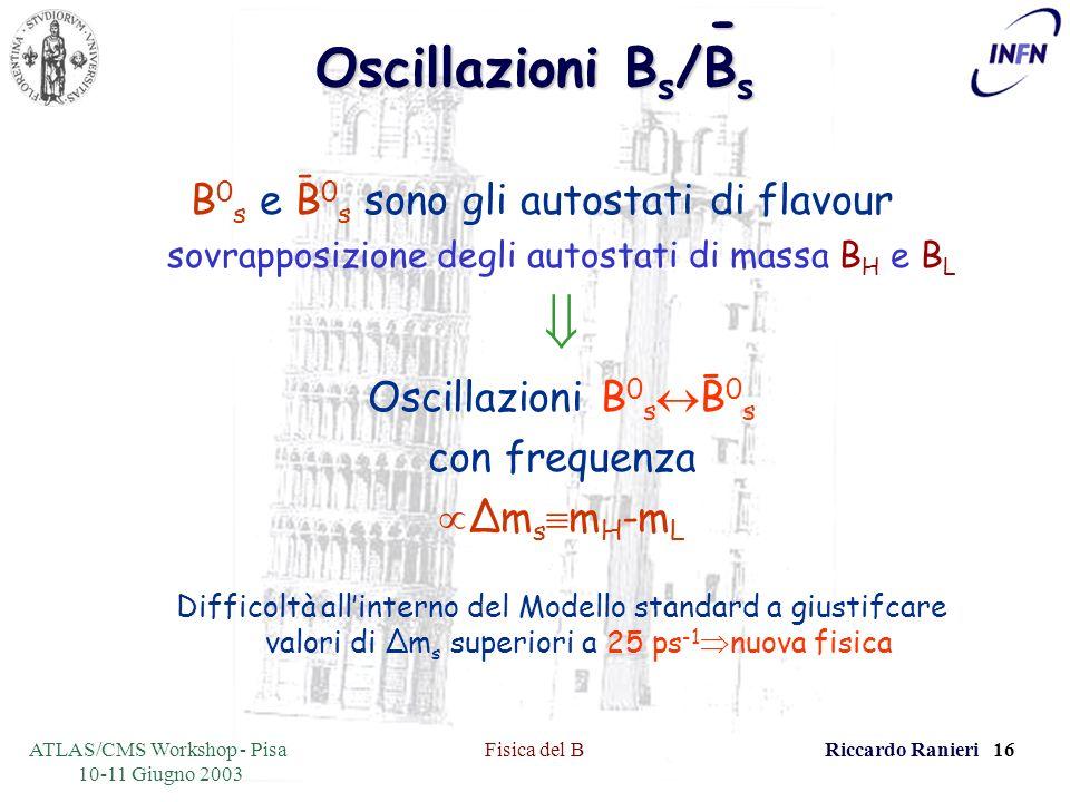 ATLAS/CMS Workshop - Pisa 10-11 Giugno 2003 Fisica del BRiccardo Ranieri 16 Oscillazioni B s /B s B 0 s e B 0 s sono gli autostati di flavour sovrapposizione degli autostati di massa B H e B L Oscillazioni B 0 s B 0 s con frequenza Δm s m H -m L Difficoltà allinterno del Modello standard a giustifcare valori di Δm s superiori a 25 ps -1 nuova fisica - - -