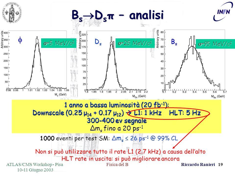 ATLAS/CMS Workshop - Pisa 10-11 Giugno 2003 Fisica del BRiccardo Ranieri 19 B s D s π – analisi BsBsBsBs DsDsDsDs =5 MeV/c 2 =5 MeV/c 2 =25 MeV/c 2 =25 MeV/c 2 =95 MeV/c 2 =95 MeV/c 2 1 anno a bassa luminosità (20 fb -1 ): Downscale (0.25 μ 14 + 0.17 μ 12 ) L1: 1 kHz HLT: 5 Hz 300-400 ev segnale Δm s fino a 20 ps -1 1000 eventi per test SM: Δ m s 26 ps -1 @ 99% CL Non si può utilizzare tutto il rate L1 (2.7 kHz) a causa dellalto HLT rate in uscita: si può migliorare ancora