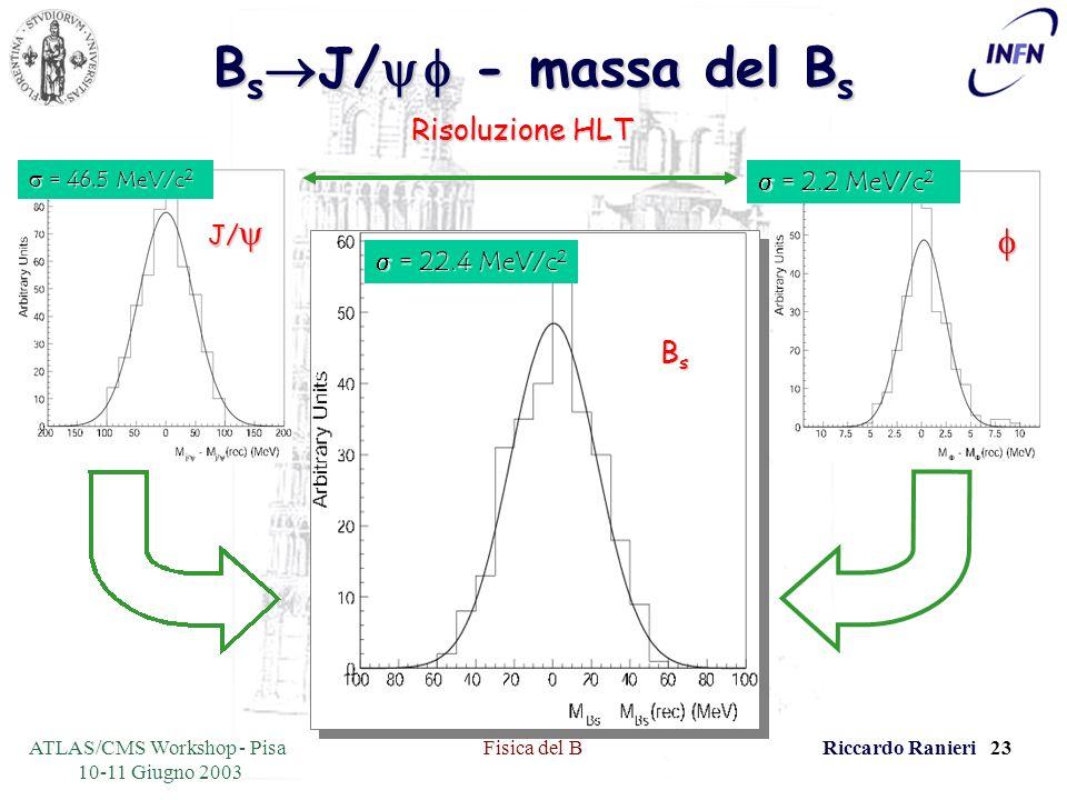 ATLAS/CMS Workshop - Pisa 10-11 Giugno 2003 Fisica del BRiccardo Ranieri 23 B s J/ - massa del B s Risoluzione HLT = 22.4 MeV/c 2 = 22.4 MeV/c 2 BsBsBsBs = 46.5 MeV/c 2 = 46.5 MeV/c 2 J/ J/ = 2.2 MeV/c 2 = 2.2 MeV/c 2