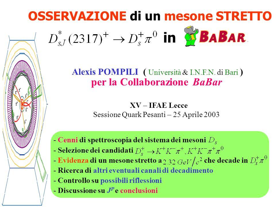 Alexis Pompili (Università & INFN Bari) XV - IFAE Lecce 2003 12 Conclusioni Con i primi di dati raccolti da BaBar si è studiato lo spettro di massa Un segnale netto e stretto è stato osservato, alla massa di con una larghezza consistente con la risoluzione sperimentale, per i 2 distinti modi di decadimento e Non vi è evidenza di decadimenti di questo stato in La probabile assegnazione, la bassa massa, la piccola larghezza e le modalità di decadimento lo caratterizzano quale stato non predetto dagli attuali modelli a potenziale della spettroscopia dei mesoni charmati Vari controlli sono stati eseguiti per accertarsi che esso non sia il risultato di riflessioni significative di altre risonanze di massa inferiore o superiore.