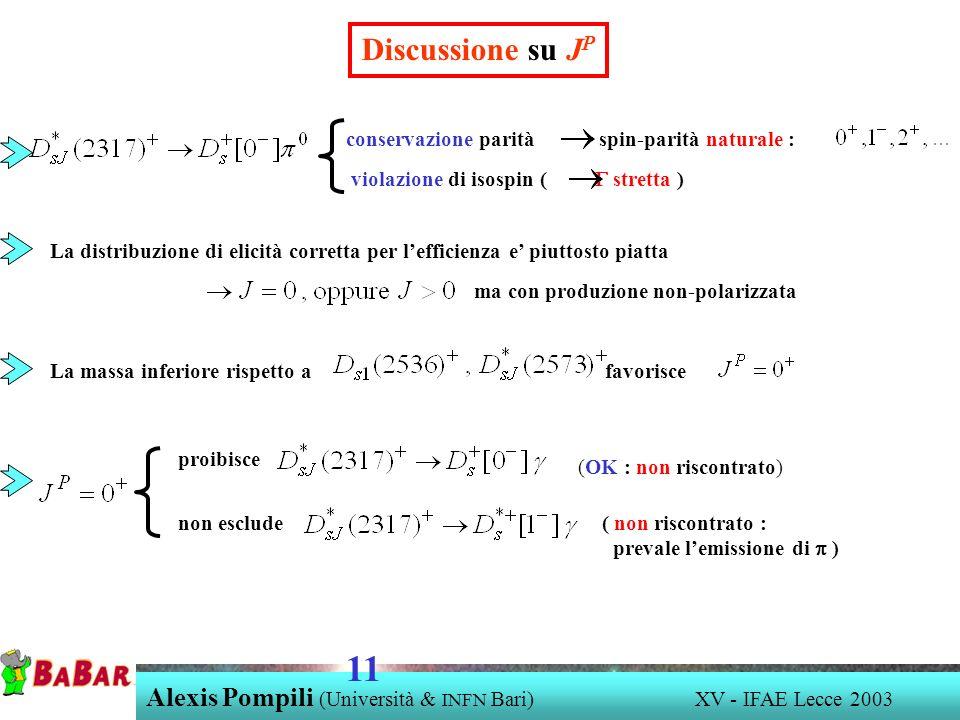 Alexis Pompili (Università & INFN Bari) XV - IFAE Lecce 2003 11 Discussione su J P conservazione parità spin-parità naturale : violazione di isospin (