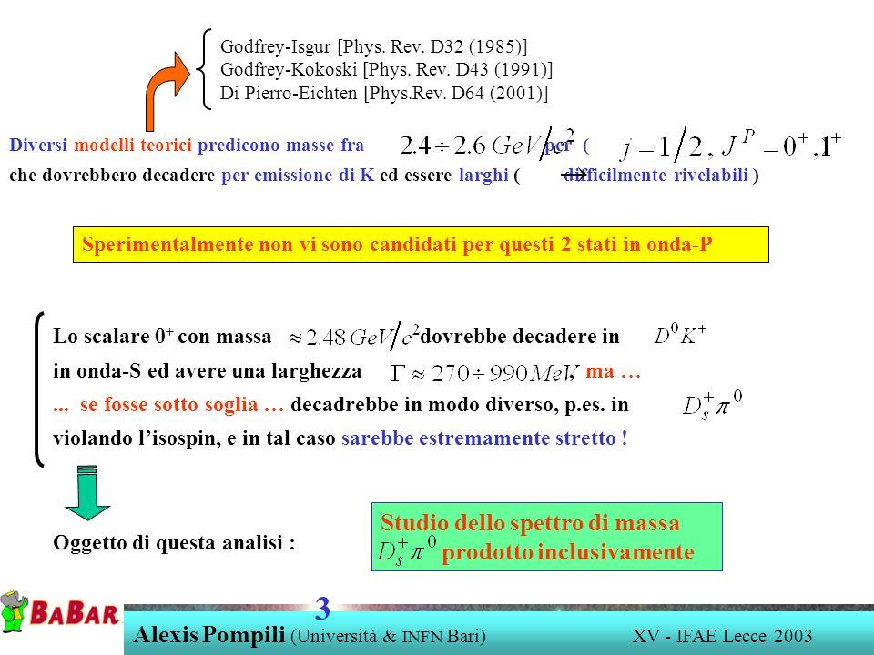 Alexis Pompili (Università & INFN Bari) XV - IFAE Lecce 2003 3 Diversi modelli teorici predicono masse fra per ( ) che dovrebbero decadere per emissio
