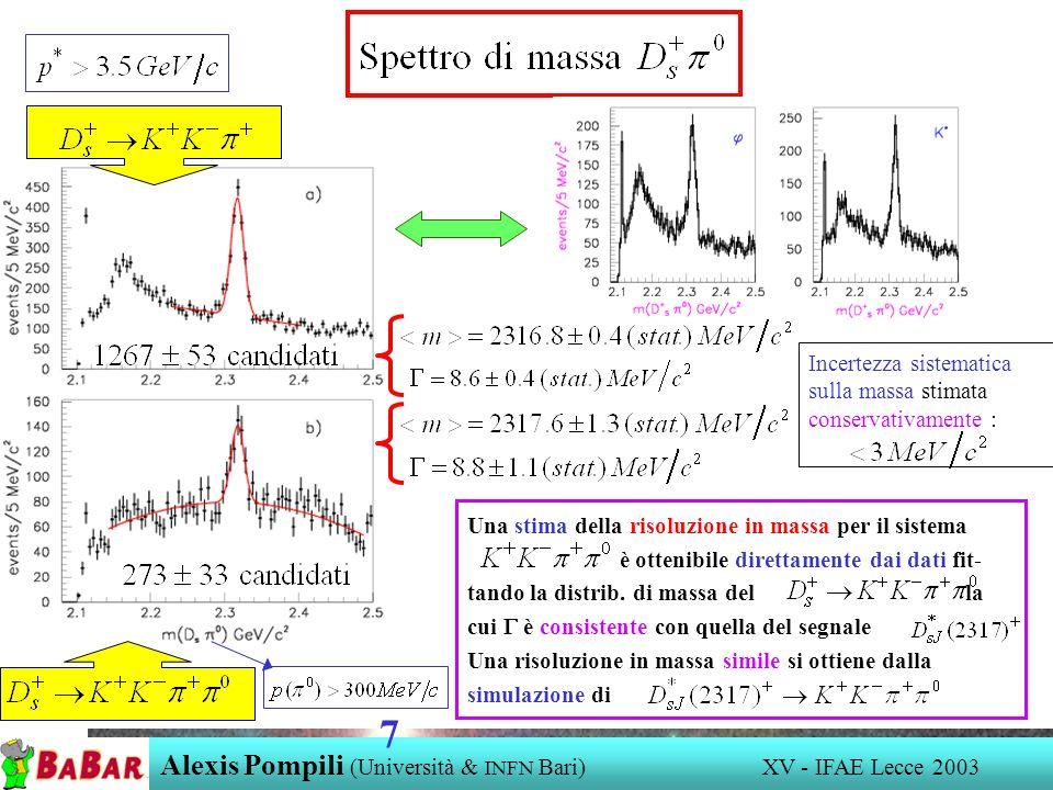 Alexis Pompili (Università & INFN Bari) XV - IFAE Lecce 2003 7 Incertezza sistematica sulla massa stimata conservativamente : Una stima della risoluzi