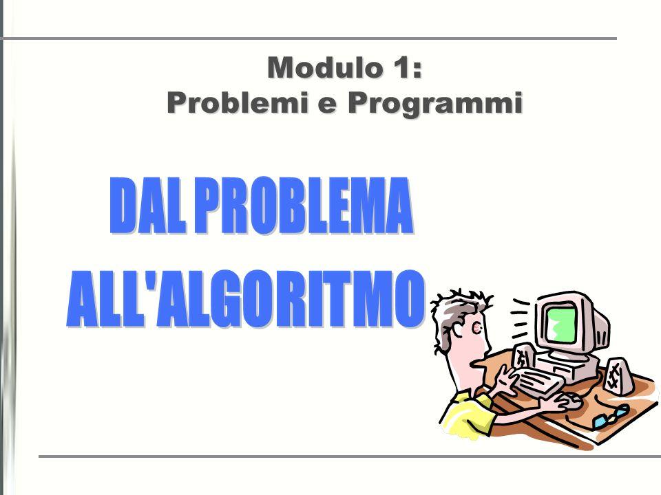 CARATTERISTICHE Modulo1: Dal problema Allalgoritmo Modulo2: Dall algoritmo ai Programmi Modulo1: Dal problema Allalgoritmo Modulo2: Dall algoritmo ai Programmi STUDENTI DELTERZO ANNO, DI UNA SCUOLA SECONDARIA DI UN ISTITUTO INDUSTRIALE AD INDIRIZZO INFORMATICO TEMPO 3 Settimane per la prima unità didattica 5 Settimane per la seconda unità didattica