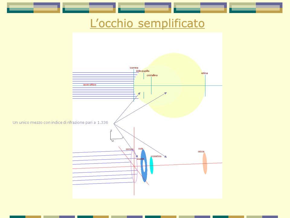 Percorso didattico 1° passaggio: attraversamento della cornea 2°passaggio: attraversamento del cristallino - con accomodamento - senza accomodamento Ruolo dei punti nodali Il fenomeno della diffrazione Determinazione della direzione Determinazione della distanza
