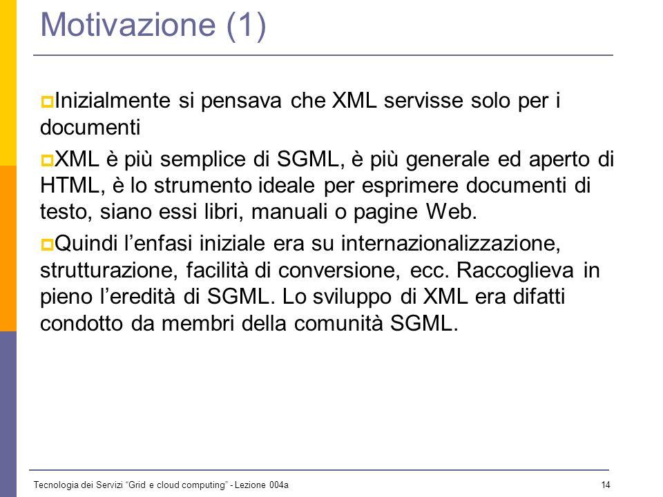 Tecnologia dei Servizi Grid e cloud computing - Lezione 004a 13 XML Schema Esaminaimo in breve XML Schema Perché non bastano i DTD Tipi ed elementi Definizione di elementi ed attributi Altri aspetti rilevanti di XML Schema