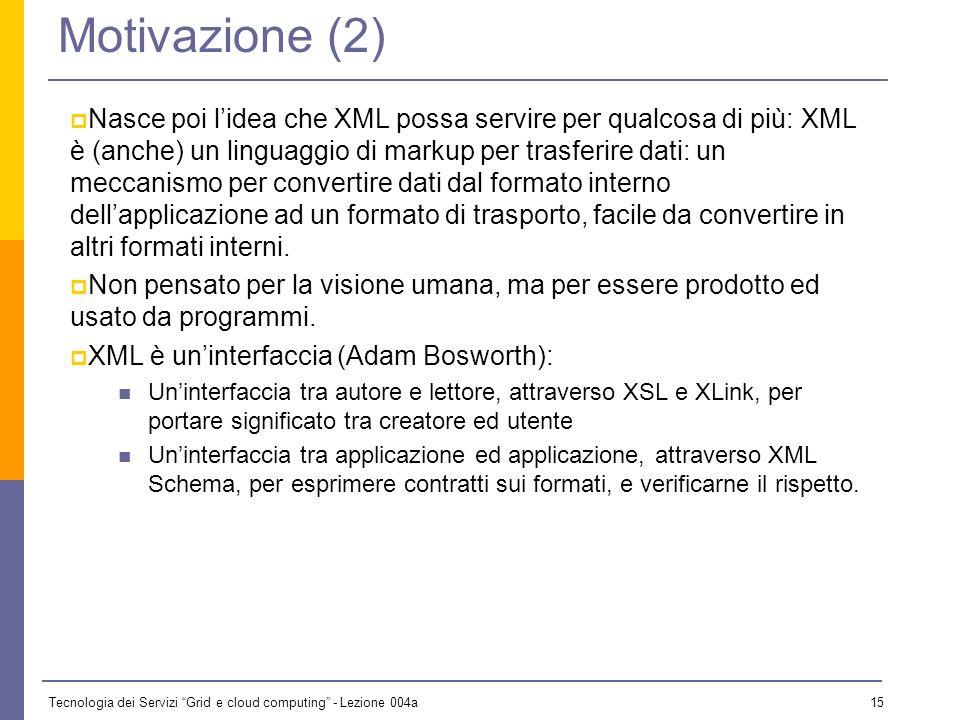 Tecnologia dei Servizi Grid e cloud computing - Lezione 004a 14 Motivazione (1) Inizialmente si pensava che XML servisse solo per i documenti XML è più semplice di SGML, è più generale ed aperto di HTML, è lo strumento ideale per esprimere documenti di testo, siano essi libri, manuali o pagine Web.