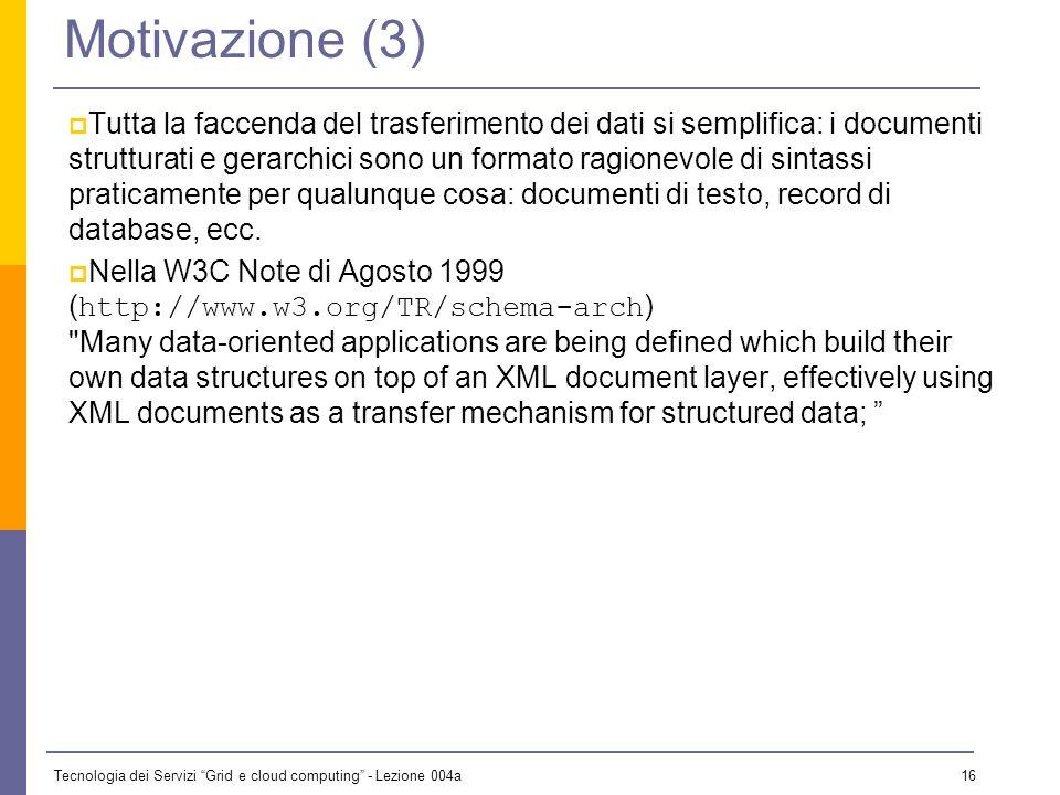 Tecnologia dei Servizi Grid e cloud computing - Lezione 004a 15 Motivazione (2) Nasce poi lidea che XML possa servire per qualcosa di più: XML è (anche) un linguaggio di markup per trasferire dati: un meccanismo per convertire dati dal formato interno dellapplicazione ad un formato di trasporto, facile da convertire in altri formati interni.