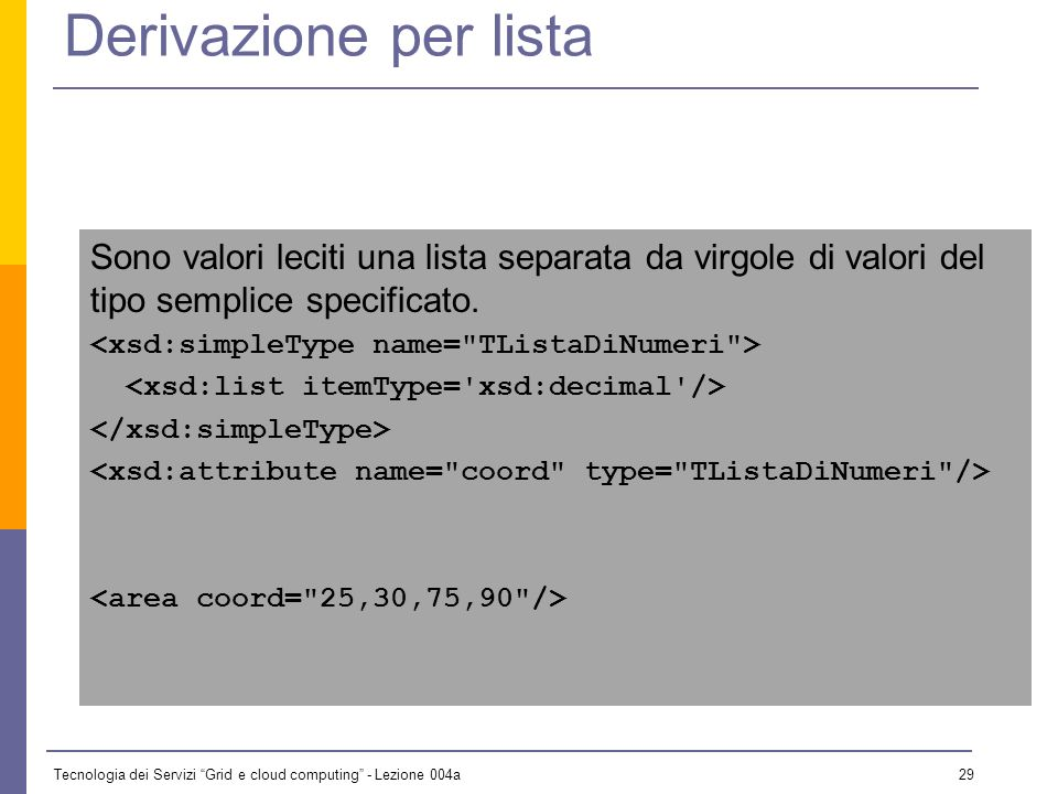 Tecnologia dei Servizi Grid e cloud computing - Lezione 004a 28 Derivazione per unione L insieme dei valori leciti è data dall unione dei valori leciti di due tipi semplici.