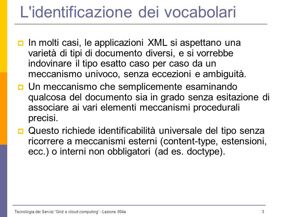 Tecnologia dei Servizi Grid e cloud computing - Lezione 004a 2 XML Namespace Qui esaminiamo: Lesigenza e il funzionamento dei Namespace in XML